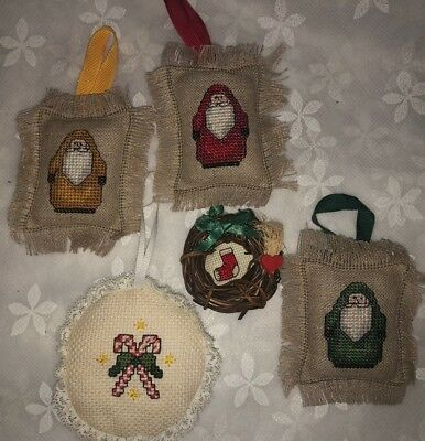 Vintage Cross Stitch Christmas Ornaments FIVE Santa Candy Canes Stocking