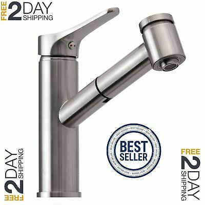 Modern Brushed Nickel Single Handle Pull Out Sprayer Kitchen/Bathroom Faucet New