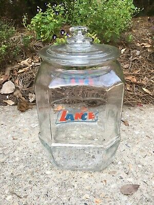 """Vintage Large Lance Glass Cracker Jar Store Counter Display 12"""" Tall & Lid Top"""
