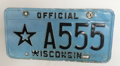 Star License Plate A555 Official Wisconsin - Blue