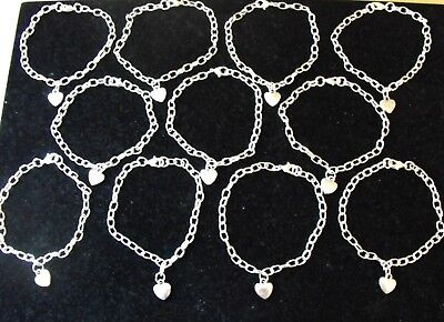 Wholesale Jewellery Job Lot 24 Heart Charm Bracelets, Gifts, Party Bags, Retail