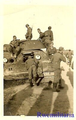 CURIOSITY! Wehrmacht Soldiers Look Over KO'd Russian T-34 Panzer Tank on Road!!!