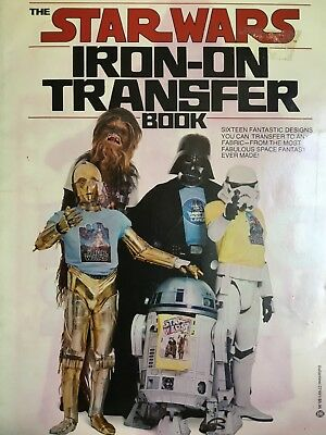 "NICE COMPLETE RARE- 16 Iron-On Transfer Book - 11"" X 8""- 1977 Vintage Star Wars"