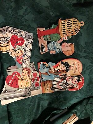 Vintage Lot Of 3 Movable Valentines