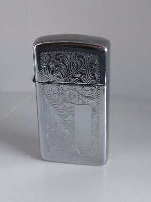 Vintage Zippo Slim Line Lighter 1984 Venetian Florentine Scroll Nice!!