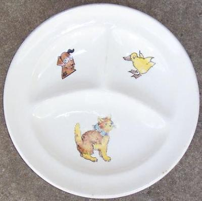 Vintage White China Divided Baby's Plate with Dog, Cat and Chick in Center