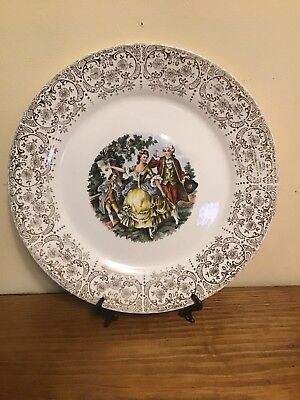 Antique Sebring Pottery China Dinner Plate Chantilly 22 Gold  Courtship Vintage