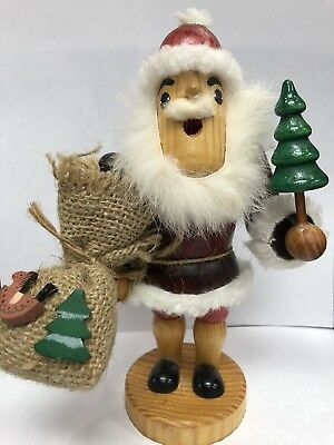 """Vintage Wood Santa Steinbach ? With Toy Bag Real Fur 7"""" Tall Wooden Christmas"""