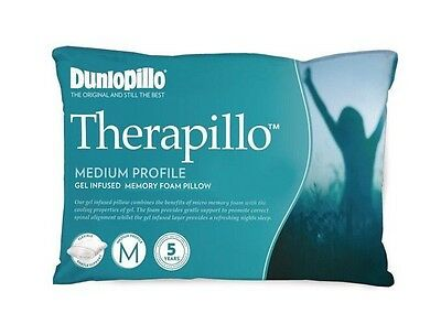 Dunlopillo Therapillo Gel Infused Memory Foam Medium Profile Pillow RRP $169