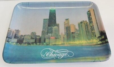 Vintage Scenic Buildings Chicago Illinois Coin Pin Trinket Tip Tray Plastic