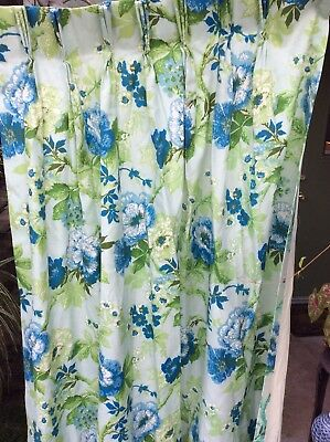 Lot 4 Vintage Retro Drapes Panels Curtains Blue Flowers Green Leaves.