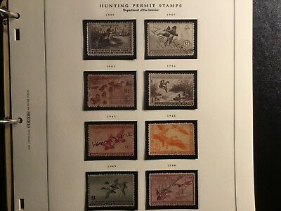 US FEDERAL DUCK STAMP COLLECTION, Scott # RW6-RW13, Used