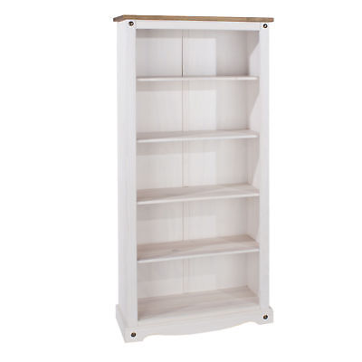 Corona White Washed 5 Shelf Tall Bookcase Solid Pine And Wood Top