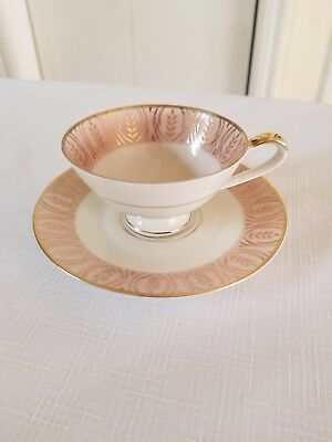 KPM Krister Germany Demitasse Cup & Saucer. Pink/White/Gold Accents.