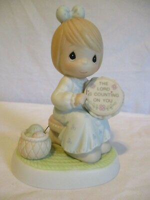 Precious Moments THE LORD IS COUNTING ON YOU FIGURINE Trumpet The Lord