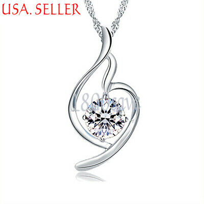 925 Sterling Silver Clear White Crystal Curved Heart Pendant 25mm * 10mm E1006