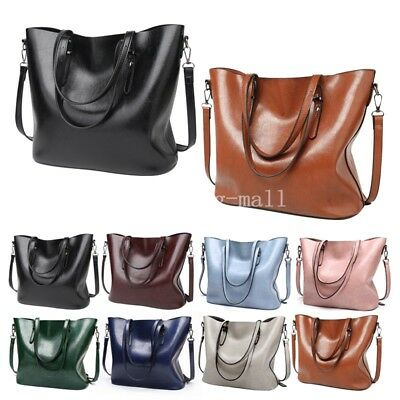 US Celebrity Large Womens Ladies PU Leather Style Tote Shoulder Bags Handbag New