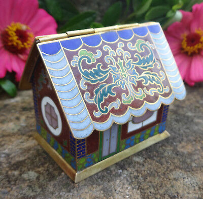 Adorable Enameled Cloisonne Gingerbread House Open Salt Dip, Cellar, Dish!