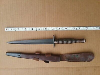 Ww Ii Ww 2 Vintage Dagger # 1 Fairbairn England British With Leather Scabbard