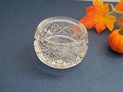 EAPG Heisey Glass CUT BLOCK #120 Crystal Open Salt Dip Cellar ca 1896-02 SCARCE