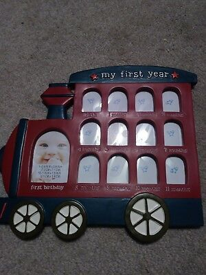train frist year picture frame