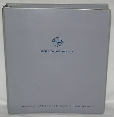 1970s Grumman Personnel Policy Binder Employee Human Resources Bethpage New York