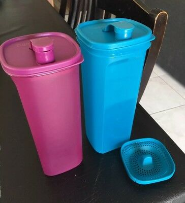 Tupperware 2 Litre Bottle Jug Pitcher With Strainer Set Of 2