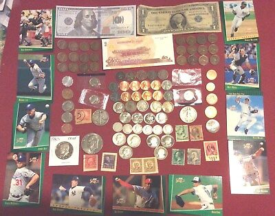 Mixed Lot Junk Drawer Collectibles,Stamps, Cards,Silver Coins & More