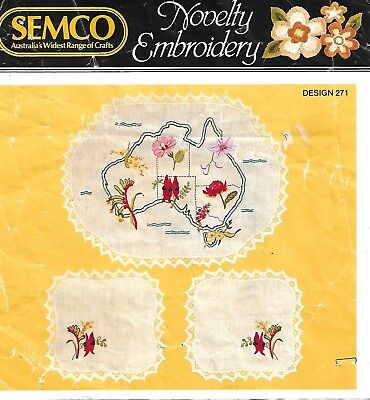 Rare VTG Traced linen 3 piece set - Australian Novelty Design - Semco # 271