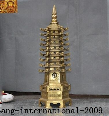 """25""""Old chinese Buddhism Temple Bronze Copper stupa wenchang Tower pagoda statue"""