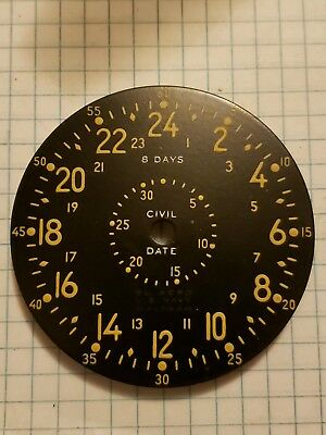 Old Vintage Waltham 8 Day US Navy 2 Dial Aircraft Clock Civil Date Airplane Dial
