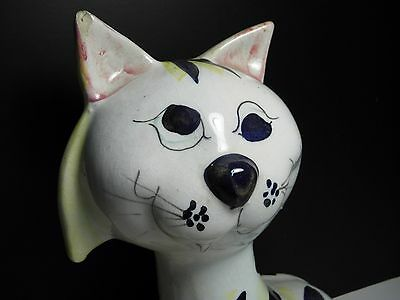 Vintage Figural Crazy-Eyes Cat Bank Made in Italy Striped Print on Porcelain Cat