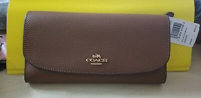 14c3320dc6f4 NWT COACH F16613 Pebble Leather Checkbook Wallet Tri-Fold Crimson ...