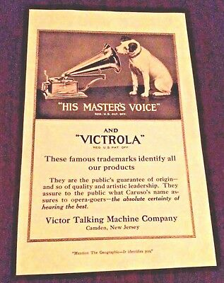 NIPPER RCA VICTOR DOG VINTAGE AD - Phonograph Victrola  His Masters Voice