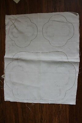 Rare VTG Traced linen Exceptional - 3 Piece Set - Very old piece