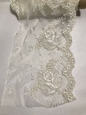 ANTIQUE LACE ALECON BRUSSELS BORDER TRIM LACE 19c FRENCH 3 Yards