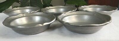 """Five Vintage WILTON Armetale RWP QUEEN ANNE Pewter 7"""" SOUP CEREAL BOWLS Nice!"""