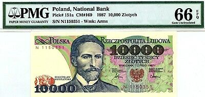 MONEY POLAND 10,000 ZLOTYCH 1987 NATIONAL BANK PMG GEM UNC PICK # 151a RARE