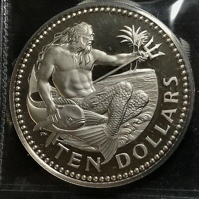 1979 Barbados $10 Silver King Neptune Proof Crown