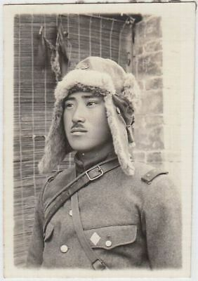 p2 WWⅡ Japanese army Photo soldier with Winter cat in China battlefield