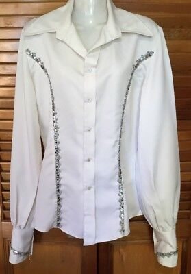 Fabulous Tailored 70s Glam Rock White Satin Wide Collar Silver Sequin Shirt