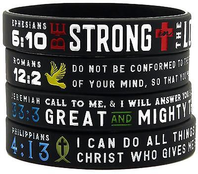 """Power of Faith"" Bible Verse Wristbands - Christian Religious Jewelry"