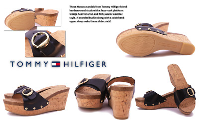 Women's Tommy Hilfiger 'Honora' Leather Open Toe Platform Sandals: Size 8 M