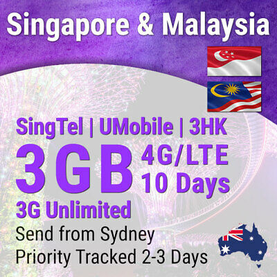 Singapore Malaysia SIM 10 days | 4G 3GB; 3G Unlimited Travel Data Sim Card