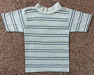 Vtg 70s 80s Master Ned Green Striped T-Shirt Boys Youth Size 4 5 Stripes