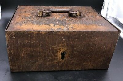Antique Steel Lock Box with 2 keys