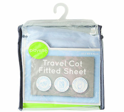 PlainTravel Cot Fitted Sheet - Blue,