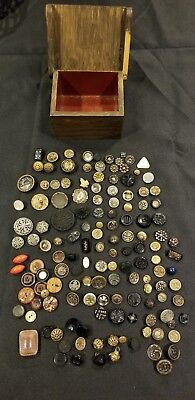 Wow! Antique Buttons Steel Brass, Cut Steel, Picture,Pewter, Black Glass Qty 130