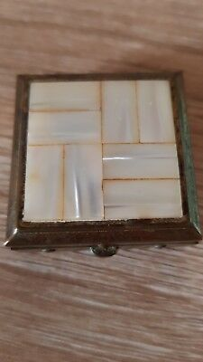 Bronze Colored Pill Box with Mother of Pearl inlay