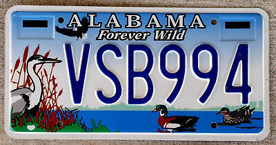 """Alabama """"Forever Wild"""" License Plate Featuring Ducks Blue Heron & a Bald Eagle"""